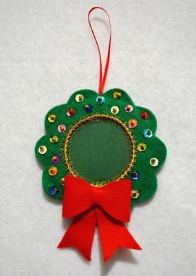 """Hand Crafted 5"""" Green  Felt Wreath Jeweled Christmas Photo Ornament"""