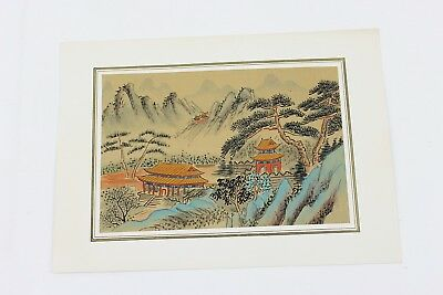 Vintage Japanese Painting on Silk Small 7x4.75 Signed Temple Scene