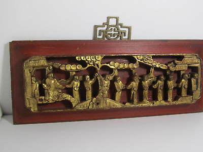 ANTIQUE CHINESE CARVED WOOD AND GILT PANEL  Hong Kong provenace Qing Dynasty