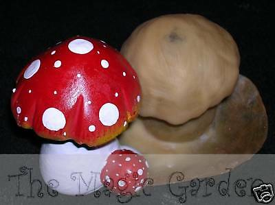 Cute mushroom toadstool cement plaster craft fairy garden latex molds moulds