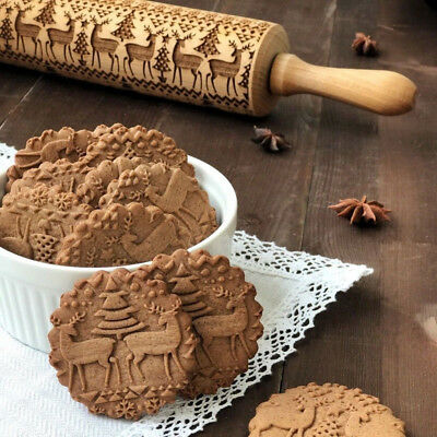 3D Christmas Embossing Wood Rolling Pin Baking Cookie Tool Classic Dough Roller