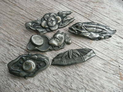Antique Japanese 'menuki' Samurai Decorations. Old One's  X 5