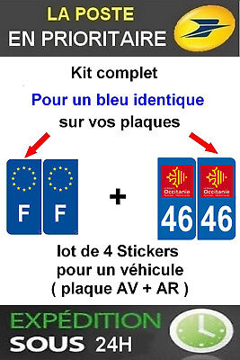 4 Stickers Logo Region + F Plaque Immatriculation Departement 46 Occitanie