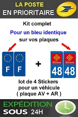 4 Stickers Logo Region + F Plaque Immatriculation Departement 48 Occitanie