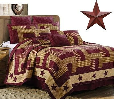 Burgundy Red Patchwork Plaid Country Primitive Farmhouse Quilt Set + BARN STAR