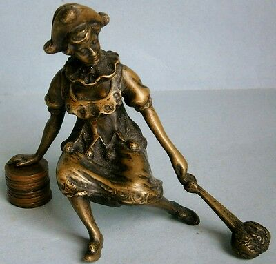 Antique Bronze Figure of Woman Wearing a Pirot Costume and  Holding a Fan
