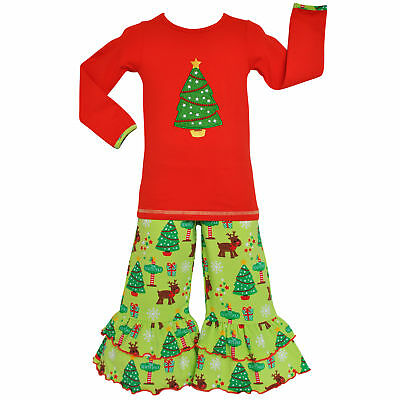 AnnLoren Baby Girls 12-18 mo Christmas Tree Tunic and Pants Outfit Clothing
