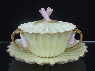 Rare Belleek Willets Lustre Covered Bouillon Cup & Saucer W/ Pink Bell Flowers