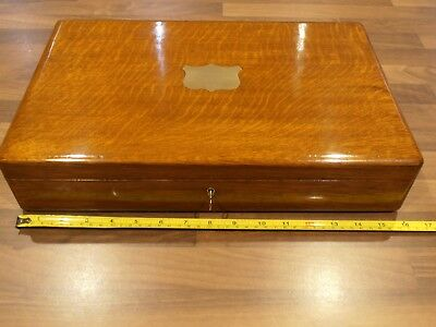 Antique Oak Lined Collectors Box with lift out tray , lock & Key