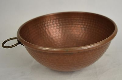 "Hammered Copper Mixing Bowl Rolled Edge 9"" x 5"" Fruit Décor Vintage"