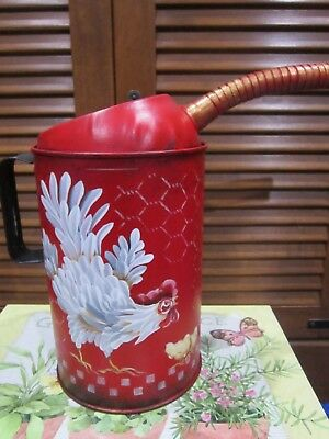 """Vintage Antique Oil Can Rooster Red French Country Farmhouse 12"""""""