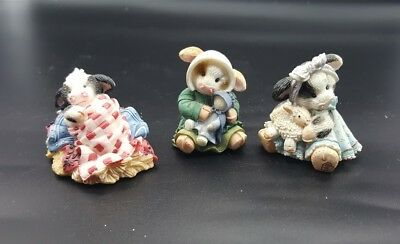 Mary's Moo Moos 3 Figurines Somebody Brand Moo, Moo Little Lamb, You're Always
