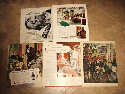 5 1940's-'50's Magzine Tear Sheets  With Ads Depicting Black Waiters/servants
