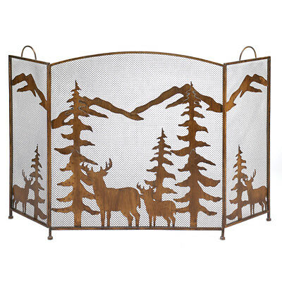 Woodland Forest Deer Mountain Rustic Finish Three Panel Iron Fireplace Screen