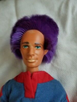 Vintage 1986 Hasbro Jem & The Holograms Fashion RIO Male Doll Purple Hair 12""