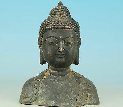 Asian Chinese Old Bronze Handmade Carved Buddha Monk Figure Collect Statue