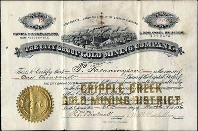 Cripple Creek, Co.: City Group Gold Mining Co, 1896, Uncancelled, Rare Stock Cft