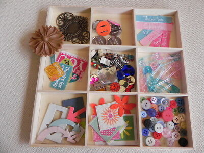 Scrapbooking Embellishments Kit in Large Wooden Tray