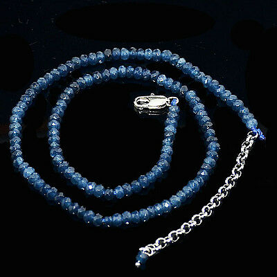 """Fine 2x4mm Faceted Kyanite Roundlle Gems Beads Necklace 18"""" Silver Clasp AAA"""