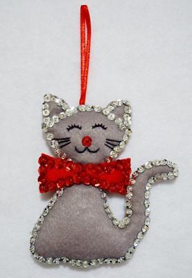 "Hand~Crafted 4 1/2""  Felt Gray Cat/kitty W/red Bow Jeweled Christmas Ornament"