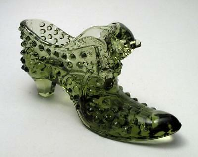 Vintage Fenton Glass Hobnail Shoe With Cat Head Olive Green