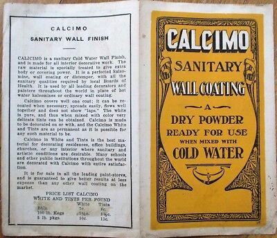 Paint/Wall Coating 1910 Advertising Booklet w/Color Samples - 'Calcimo'