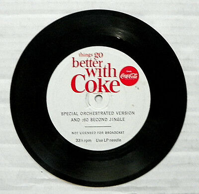 """1963 """"drink Coca-Cola ~ Things Go Better With Coke"""" :60 Second Jingle Record"""