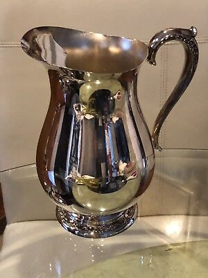 "ROGERS & BRO Silver 817 water pitcher Footed Stand Vintage and ice guard 9""Tall"