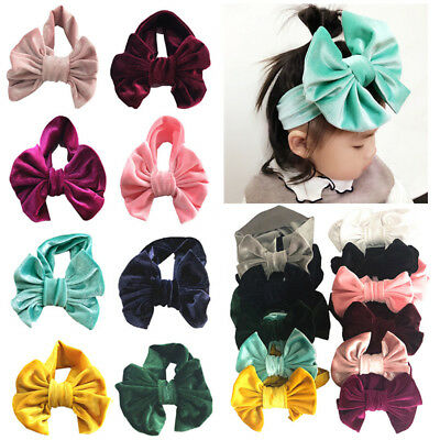 HOT Cute Newborn Toddler Baby Kids Soft Velvet Big Knot Bow Headband Hairband