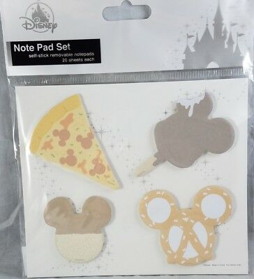 Disney Parks Note Pad Set Mouse Ears Food Set of 4 Stick 20 Sheets - NEW