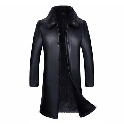 Mens Long Business Lapel Real Leather Fur Coat Luxury 2019 Warm Winter Jackets