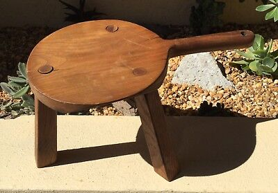 Charming Vintage Antique Hand Crafted Solid Oak Milking Stool