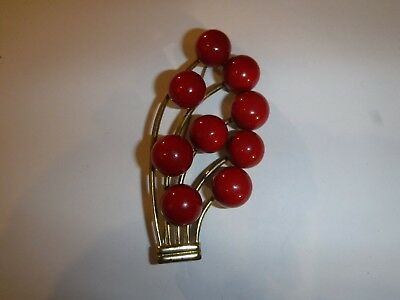 Vintage Cherry Red Bead Brooch Hard Plastic Gold-tone
