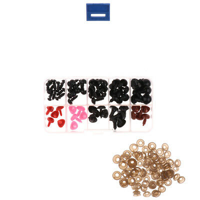 75 Pieces 6-12mm Safety Eyes & Noses For Teddy Bear Doll Making with Case
