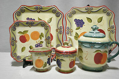 LOT: Tabletops Medici Teapot Creamer Covered Sugar 2 Dinner 1 Salad Hand Painted