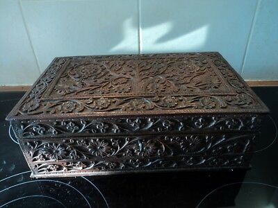 Stunning hand carved antique/vintage large box, probably Indian