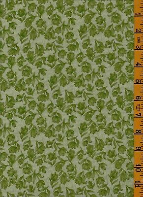 2Yd Cotton Quilting Sew Fabric Peter Pan Amsterdam Green Tonal Floral 05