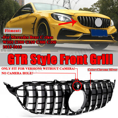 For Mercedes Benz C Class W205 C350 2015-2018 AMG GT R Style Front Grill Grille