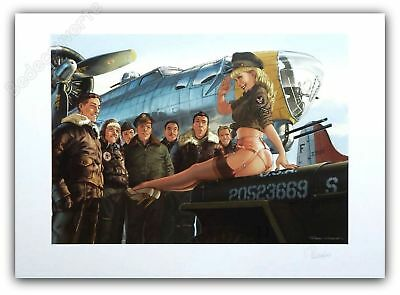 Affiche Romain Hugault Pin Up Avion et pilotes signée 50x70 cm