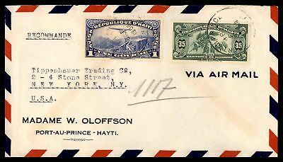 Port Au Prince Jul 18 1938 Registered Air Mail Cover To New York Ny Usa