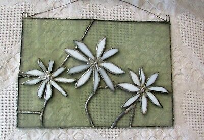 Vintage Stained Glass Leaded Panel Of Daisy, Estate Find