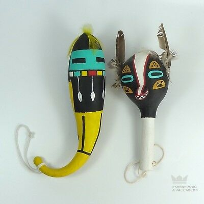 Two (2) Native American Painted Hopi Gourd Rattles