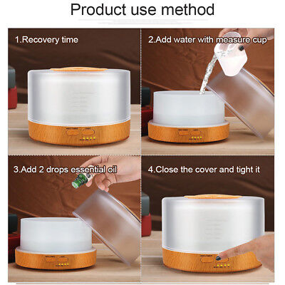 500ml Remote Control Aroma Essential Oil Diffuser Ultrasonic Air Humidifier with