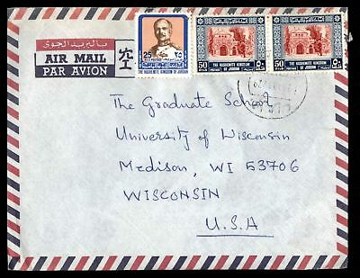 Jordan to US Madison Wisconsin Tri-Franked Airmail cover