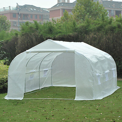 15'x10'x7' Heavy Duty Walk-in Tunnel Greenhouse Garden Warm House White