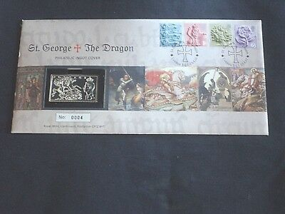 Royal Mint  2001 First Day  Silver Stamp Ingot  Cover St George & The Dragon