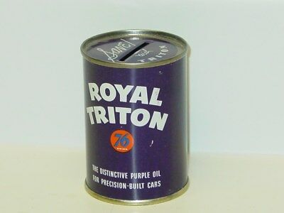 Vintage Royal Triton 76 Oil Coin Bank Can, Purple, Save With Triton