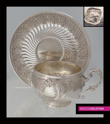 HENIN & Cie : ANTIQUE 1890s FRENCH STERLING SILVER COFFEE CUP & SAUCER Rococo st