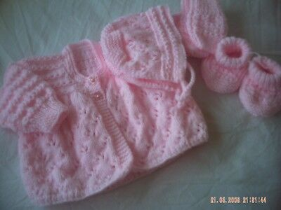 Hand Knitted Pink Baby Coat With Matching Hat, Mitts And Bootees Size 3-6 Months