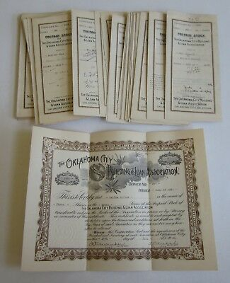 Wholesale Lot of 50 Old 1920's OKLAHOMA CITY Building & Loan STOCK CERTIFICATES